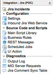 The JIRA PoC Application that is installed through the update set