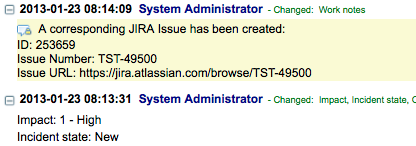 When a corresponding JIRA issue is created, the ticket information is stored in a comment on the ServiceNow incident record.