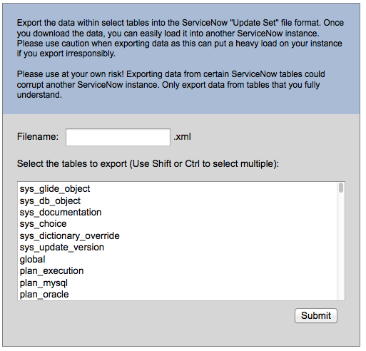 Multiple Table Data Export Tool for ServiceNow | John Andersen