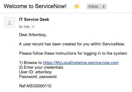 Send new ServiceNow users a welcome email with credentials